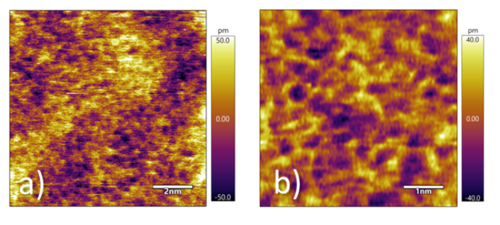 Figure 1. Topography images of disordered lattice imaged at an amplitude setpoint of 2 nm. a) 10nm scan and b) 5nm scan. Both images clearly demonstrate sub-nm amorphous glass surface.