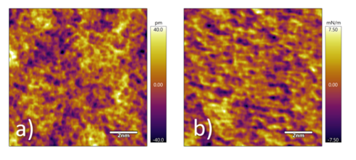 Figure 2. a) Surface topography and b) tip-sample stiffness of a region of the glass sample imaged using AMFM stiffness mapping. 10 nm scan