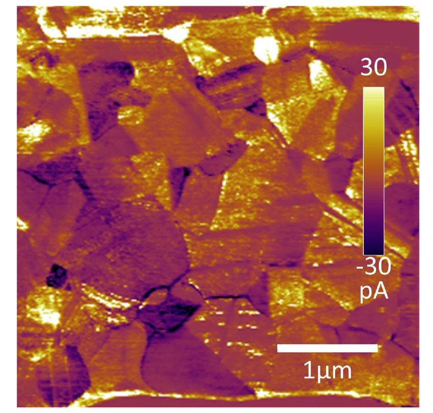 "Supporting information for «Direct AFM-based nanoscale mapping and tomography of open-circuit voltages for photovoltaics"": Figure S1: Representative quasi-VOC* image from the measured photocurrent upon illumination during an applied voltage fixed at 700 mV. NANOSENSORS conductive diamond coated CDT-NCHR AFM probes were used in the described CT-AFM experiment"