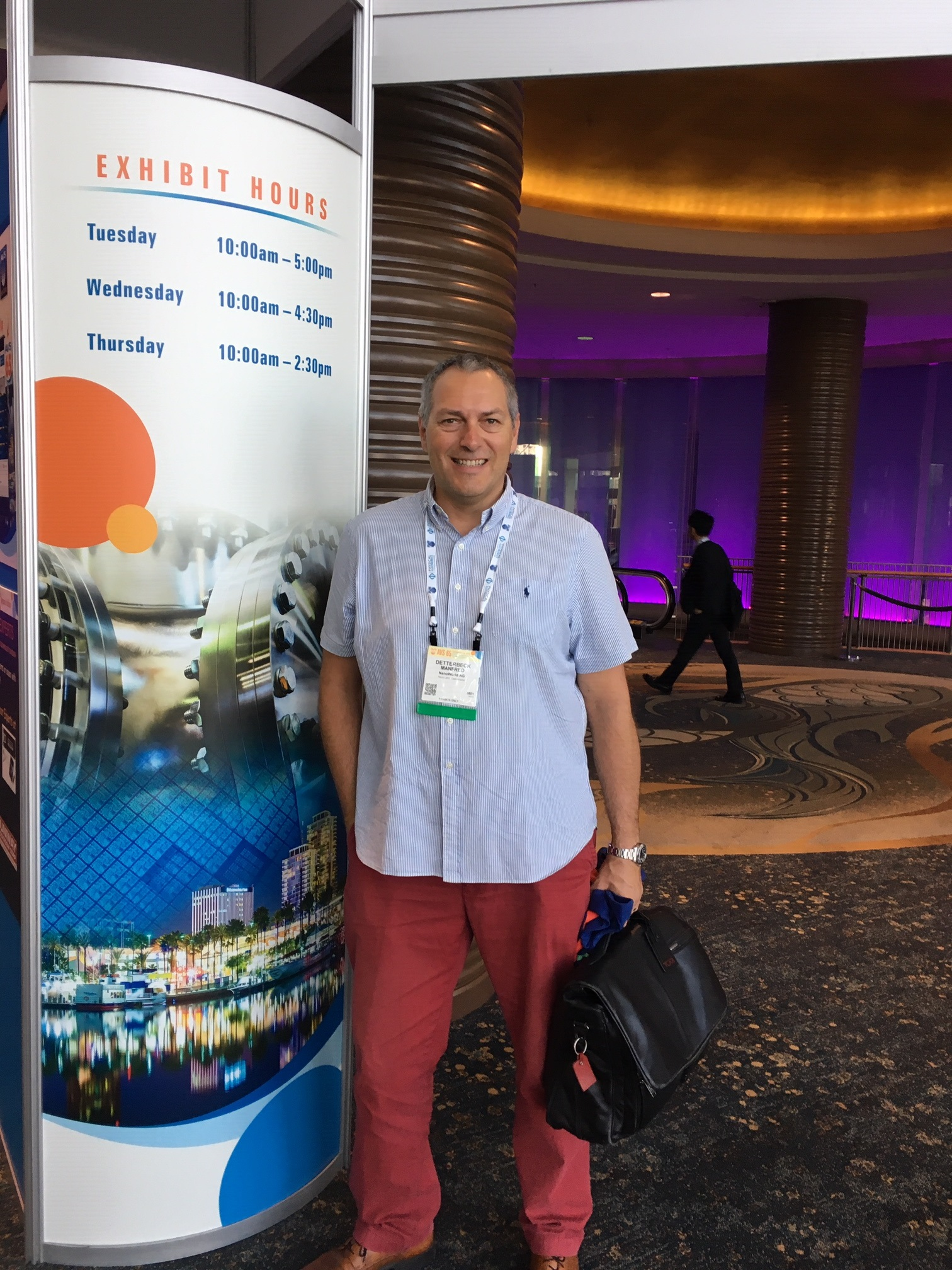 NanoWorld CEO Manfred Detterbeck at AVS 65th AVS International Symposium and Exhibition at Long Beach CA NanoWorld AFM probes