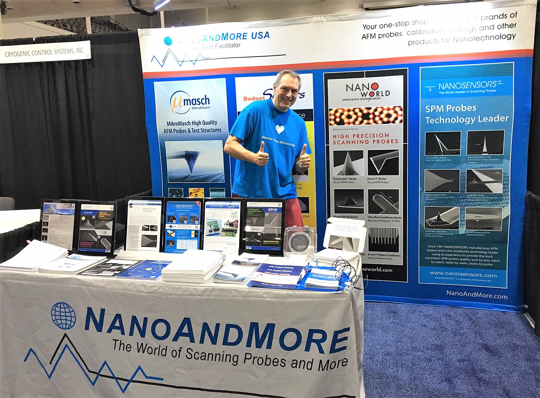 NanoWorld AFM probes CEO Manfred Detterbeck at NanoAndMore USA booth no. 610 at MRS Fall 2018