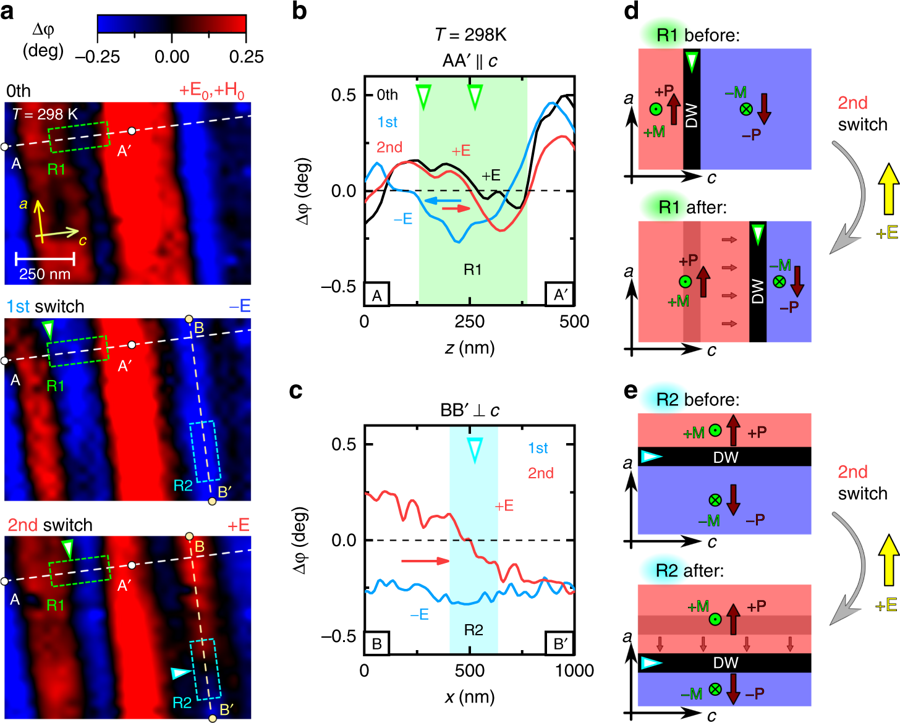 """Figure 5 from """"Magnetization-polarization cross-control near room temperature in hexaferrite single crystals"""" by V. Kocsis et al.: Real-space magnetic force microscopy (MFM) images. The MFM images were taken on the same 10×10μm2 region of a BSCFAO crystal with an ac face (see Supplementary Figs. 3, 9 and 10) at room temperature. Prior to the MFM measurements, the sample was poled to a single-domain ME state using (+E0, +H0) poling fields in a E⊥H; E, H⊥c configuration. Panel a shows the changes in the magnetic domain pattern caused by two successive applications of the E field with different signs (the initial state is labeled as the 0th). The images include small regions, R1 and R2, where two representative cases of DW motion are observed. Around R1, the negatively magnetized domain (denoted with blue color, MFM phase shift Δφ<0) expands and shrinks along the c-axis upon the first and second applications of E-field, respectively. On the other hand, around R2, a positively magnetized domain (denoted with red color, Δφ>0) is pushed into the view area from the upper side along the ab plane. These two cases are further displayed as line profiles of the MFM phase shift (Δφ) data along the b A−A′ and c B−B′ lines. Panels d, e show the schematic illustration of these two cases of domain wall motions for the second E-field switch, respectively. NanoWorld MFMR AFM probes were used for the magnetic force microscopy."""