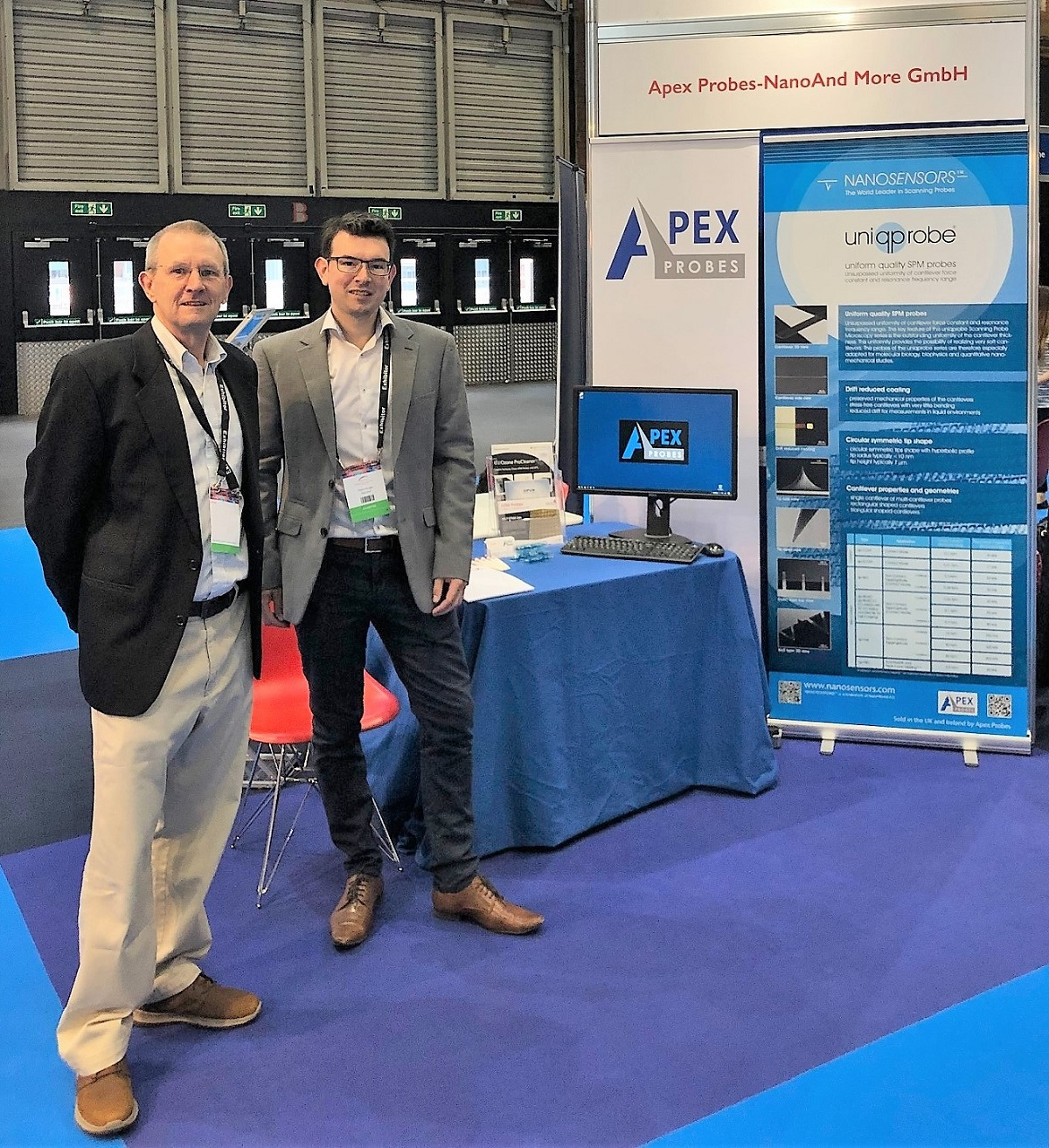 The Apex Probes team at their stand at the MMC 2019 in Manchester