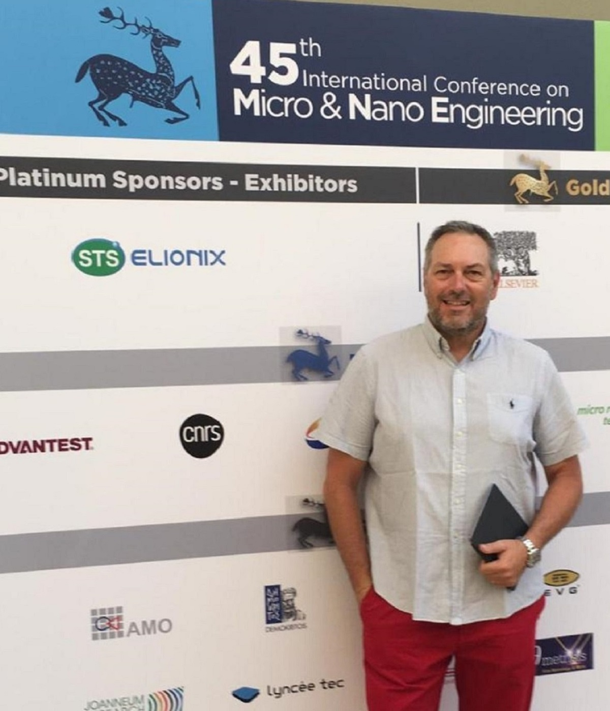 NanoWorld CEO Manfred Detterbeck in front of MNE 2019 conference entrance