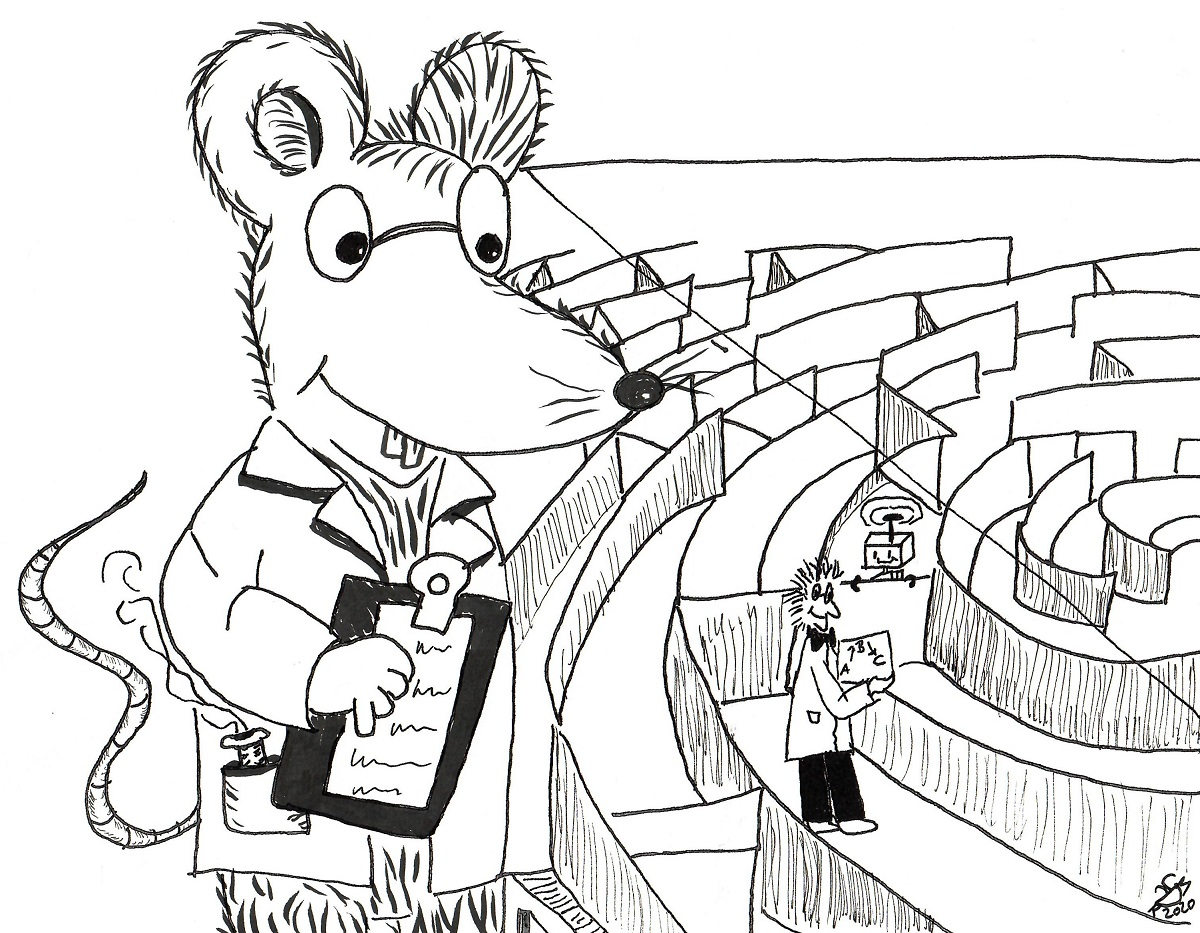 Comic showing a giant laboratory rat who turned into a scientist testing the shrunken professor and roboter in a maze.