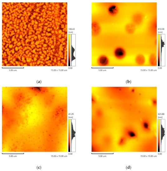 "Figure 15 from Ilsiya M. Davletbaeva et al ""Amphiphilic Poly(dimethylsiloxane-ethylene-propylene oxide)-polyisocyanurate Cross-Linked Block Copolymers in a Membrane Gas Separation"": AFM Images. (a): [PPEG]:[TDI] = 1:10; (b): [PPEG]:[D4]:[TDI] = 1:15:10; (c): [PPEG]:[D4]:[TDI] = 1:15:10 [ASiP] = 0.2 wt.%, (d): [PPEG]:[D4]:[TDI] = 1:15:10 [ASiP] = 0.4 wt.%. NanoWorld Pointprobe® FMR AFM probes were used."